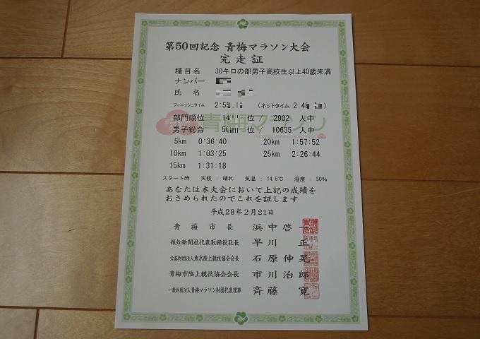 ワニ銀第50回記念青梅マラソン大会完走証2